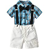 Toddler Baby Boy Summer Gentleman Plaid Short Sleeve Kids Romper Outfit Set with Bow Tie