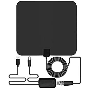 Amplified Indoor HDTV Antenna, OUREIDA HD Digital TV Antenna 50 Mile Range with Amplifier and 13 FT Coaxial Cable - Black