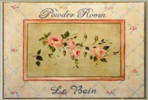 - The Stupell Home Decor Collection Powder Room Le Bain Pink Cabbage Rose Rectangle Wall Plaque