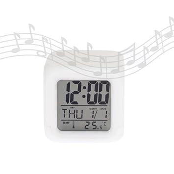 Reloj despertador multicolor -LED ALARM- blanco translucido