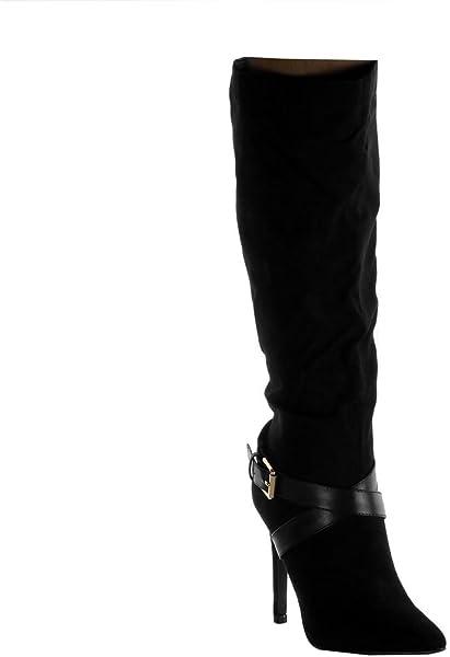 67e8b546836ea Angkorly - Chaussure Mode Botte Stiletto Cavalier Souple Femme Lanières  croisées Boucle doré Talon Haut Aiguille