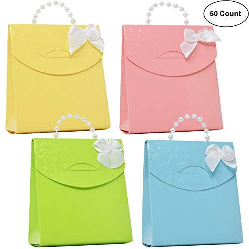 50 Pastel Favor Bag Boxes Craft Kit with Pearl Bead Handle Pink Blue Green Yellow Guest Candy Goodie Treat Bags Party Supplies Decorations for Wedding Reception Birthday Celebration Baby Bridal Shower (Bridal Shower Goodie Bags)