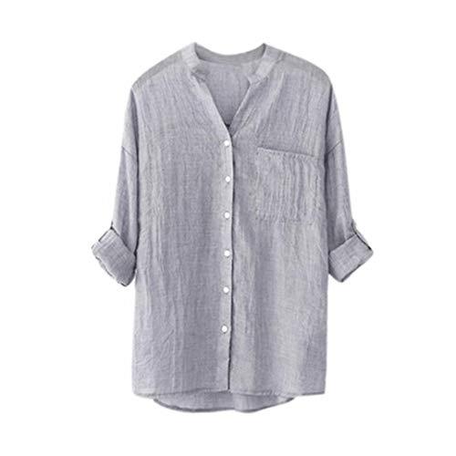 iDWZA Women's Stand Collar Solid Color Casual Button Down Tops Tee Blouse Shirt(M,Gray) (Dress Silk Crochet Yoke)