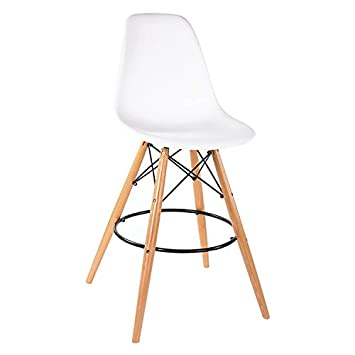 modhaus mid century modern eames dsw style white bar stool chair with dowel wood eiffel base