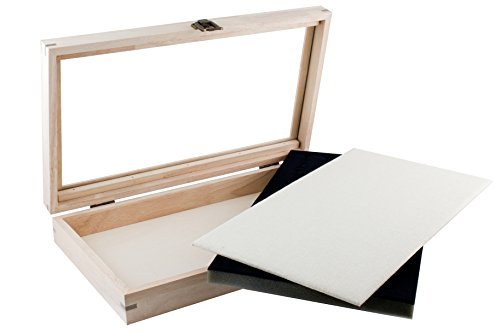 Caddy Bay Collection Wood Jewelry Ring Display Case With Glass Top Includes 2 Free Inserts-1 x 72 Ring Foam Pad, 1x Thick Linen Liner