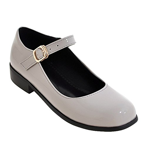 (Charm Foot Women's Retro Ankle Strap Buckle Low Heel Mary Jane Shoes (7.5, Gray) )