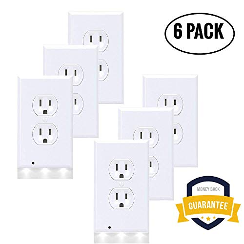6Pack Illuminated Wall Outlet Plate, LED Night Light Plug Cover with Sensor Inductive Guidelight Easy Snap On No Wire Or Battery Needed Hallway Bathroom Stairway Decor by Sunshine-Light (Image #7)