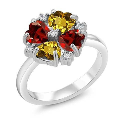 Gem Stone King 929 Sterling Silver Ring Yellow Citrine and Red Garnet 2.10 Ctw Heart Shape (Size 8)