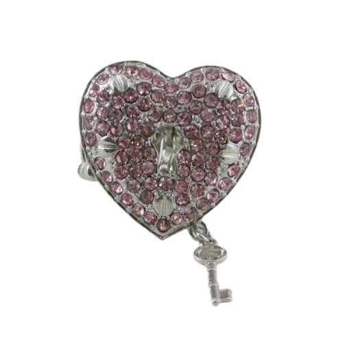 Heart Lock & Key Stretch Ring Oversize Jeweled Pink Silver Tone