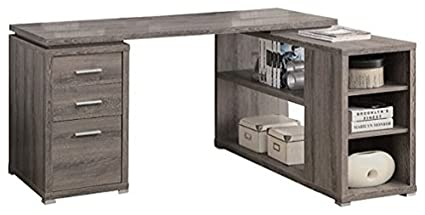 Charmant L Shaped, Corner Office Desk With Storage In Distressed Wood
