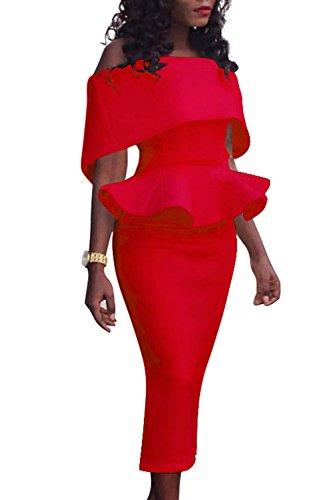 Robe Ébouriffées Élégantes Les Monocolor Bodycon Mosaïque Femmes Épaule Peplum Red PXiTwOkZul