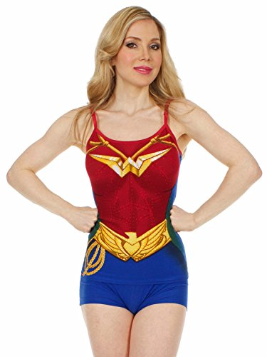 Wonder Woman Cami Set - DC Comics Wonder Woman Costume Cami and Short Set Medium Blue,red