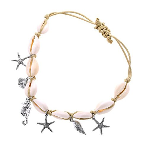Sinwo Women's Shell Anklets Summer Beach Foot Chain Conch Sandal Anklets Beads Bracelet Jewelry (A) ()