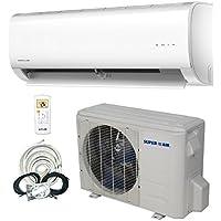SuperAir 12000 BTU 16 SEER (1 TON) Ductless Mini Split System Inverter Air Conditioner with Heat Pump 110V - FULL SET