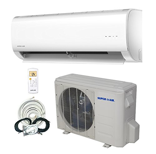 SuperAir 12000 BTU 16 SEER (1 TON) Ductless Mini Split System Inverter Air Conditioner with Heat Pump 110V - FULL SET by Superair