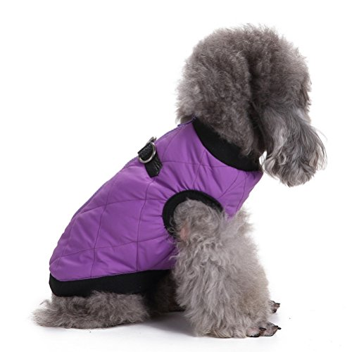 ZUNEA Cotton Padded Soft Pet Puppy Small Dog Cat Vest Harness Warm Coat Jacket Costume Chihuahua Clothes Apparel Purple S