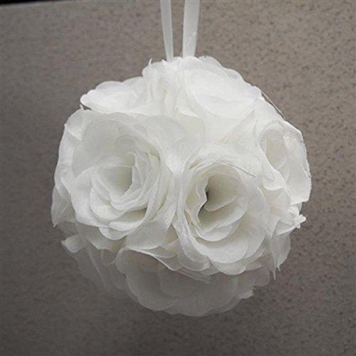 Firefly Imports Homeford Silk Flower Kissing Pomander Balls Wedding Centerpiece, White, 7-Inch]()