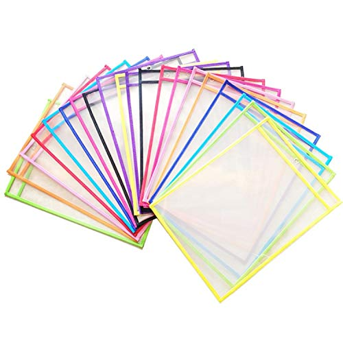 Reusable Dry Erase Pockets - with Erasers- Holder for Markers - 30 Pack Assorted Color Sleeves Envelope - Eco Friendly - Metal Eyelet for Ring Organizer - Sheet Protectors for School Classroom Work