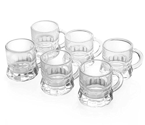 Set of 6 – 1 Ounce Mini Beer Mug Whiskey Shot Glass ()