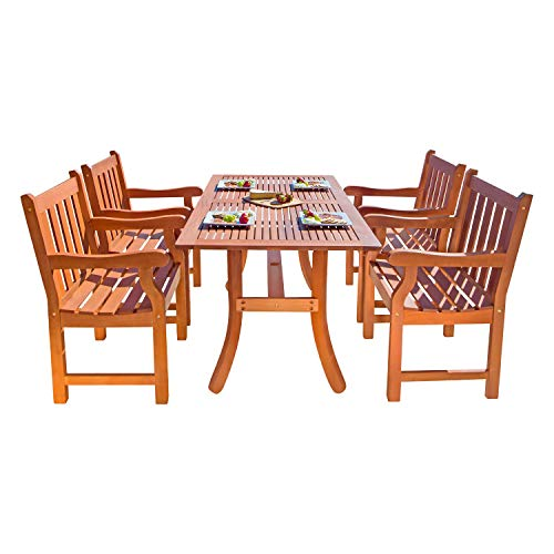 VIFAH V187SET22 Outdoor 5-Piece Wood Dining Set with Rectangular Curvy Dining Table and 4 Armchairs