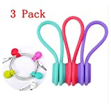 magnetic cord clip - Magnetic Cable Clips,3 Pack Multipurpose Magnetic Cable Organizer, Magnetic Cord Winder Wrap for Headphones/ Date USB Cable,Soft Silicone Earphone Cable Cord Organizer (3 Pack)