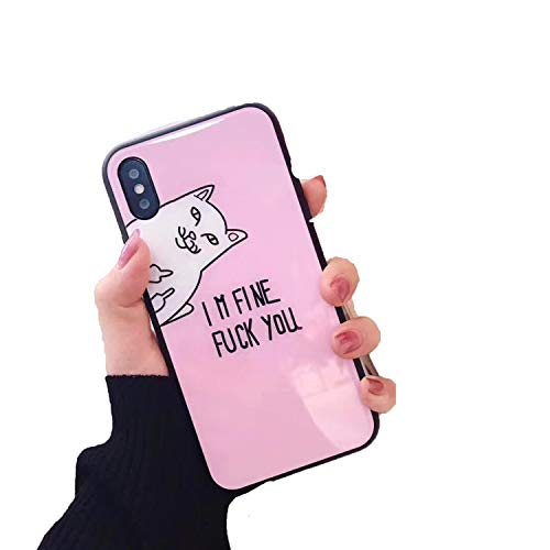Tempered Glass Shell Middle Finger cat I m fine for iPhone 6 6s 6plus 7plus 8plus X case,for Iphone6 6s