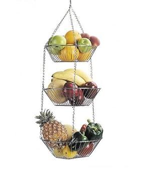 Brand New 3 Tier Chrome Storage Hanging Basket Fruit Bowl Storage