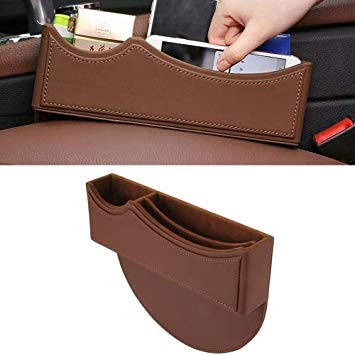 Uniqus Car Seat Crevice Storage Box with Interval Auto Gap Pocket Stowing Tidying for Phone Pad Card Coin Case Accessories(Brown)