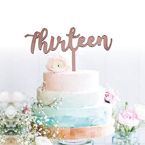GrantParty Thirteen Rose Gold Cake Topper   13th Birthday Anniversary Wedding Party Decoration Ideas  Perfect Keepsake (13 Rose -