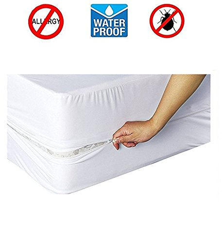 Homeco Design Twin Size Water Proof Zippered Mattress Protector - Bed Bug Proof - Stitched Edges - Hypoallergenic Protection - Size: 39'' x76'' x 10''