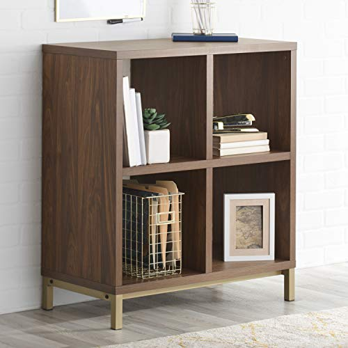 (Better Homes and Gardens* 4-Cube Metal Base Room Storage Organizer in Vintage Walnut Finish + Include Free Furniture Polish)