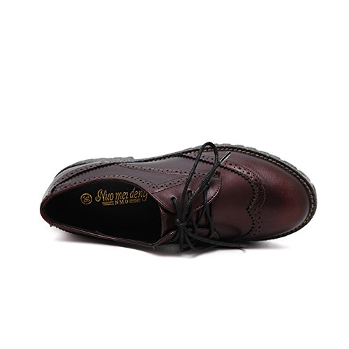 Wingtip Perforated Oxfords Round Lace up Shoes Toe Burgundy JULY Women's Low Retro Shoes Heel T qwYfECx