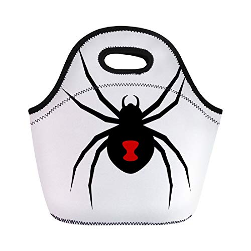 Semtomn Neoprene Lunch Tote Bag Black Widow Spider Red Marking Flat for Apps Reusable Cooler Bags Insulated Thermal Picnic Handbag for Travel,School,Outdoors, -