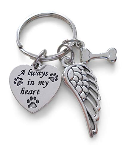Always in My Heart Keychain with Bone Charm and Wing Charm, Dog Memorial Keychain