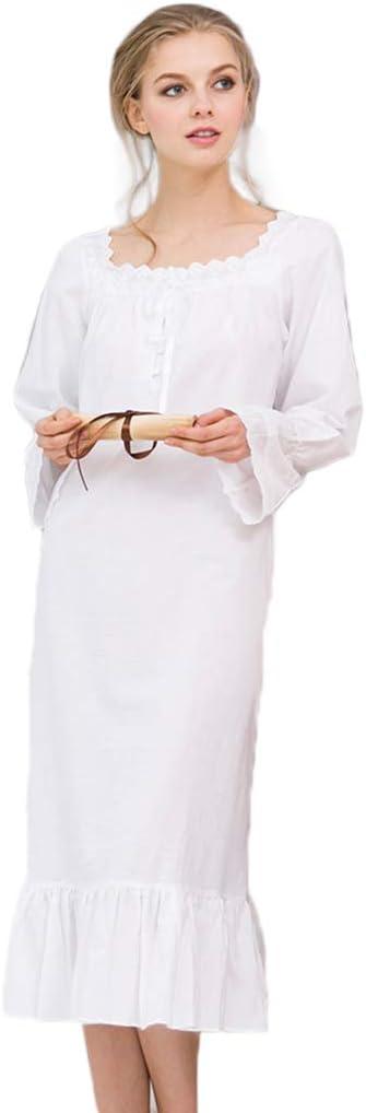 De Las Mujeres Camisa de Manga Larga de algodón Victoriano de Encaje Blanco Gris camisón para Mujer Pijamas Ropa de Dormir Falda de Cola de Pescado,White,S: Amazon.es: Deportes y aire libre