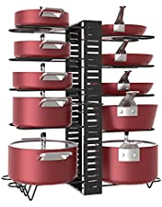 X-cosrack Adjustable Heights Pot Racks 10 Tier with Non-Slip feet, 6 DIY USE Methods, Expandable Pans and Pots Lid Organizer Rack Holder for Kitchen Cabinet Pantry, Black - Patent Pending