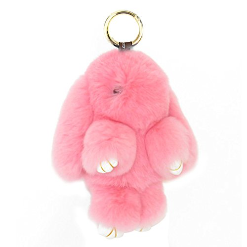 ACTLATI Soft Cute Bunny Charm Ring Keyfob Rabbit Fur Keyring Fluffy Pompom Keychain Decoration Pink