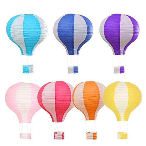Cieovo 7PCS Hot Air Balloon Paper Lantern Reusable Chinese Japanese Party Ball Lamps Decorations Wedding Birthday Anniversary Christmas Engagement]()