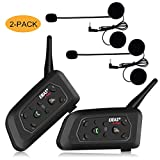 EJEAS V6 PRO Motorcycle Helmet Intercom Headset Bluetooth, Wireless Interphone System for Rider with 5-Way Pairing丨Waterproof IP65丨Talking Range 1200m丨Phone Connection丨Hands-free丨Stereo Music|2 Packs