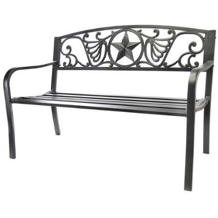 Jordan Manufacturing Lightweight Super-strong Outdoor Patio Steel Bench Steel Frame and Cast Iron Seat