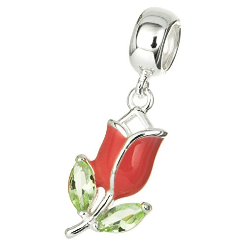 Dreambell 925 Sterling Silver Enamel Mothers Day Tulip Flower Green Cz Crystal Dangle for European Charm ()