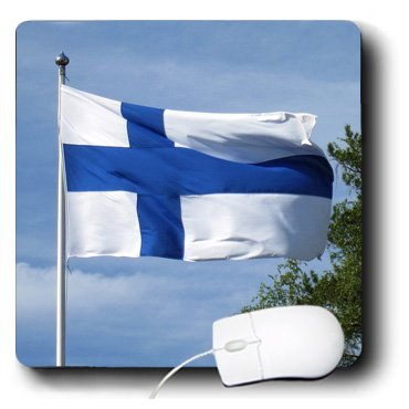 3dRose Print of Flag of Finland Flying Against The Blue Sky Mouse Pad (mp_182843_1)