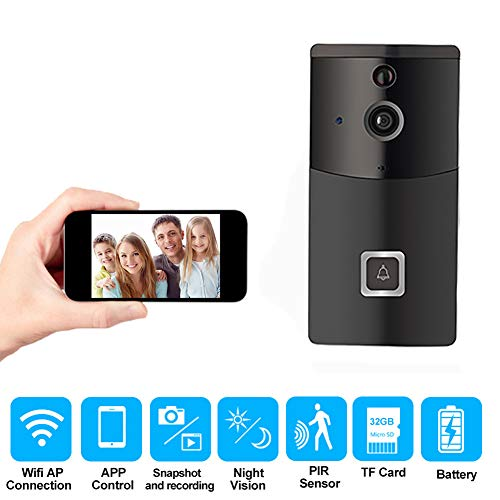 SURENESS Smart WiFi Electronic Video Doorbell Wireless Mobile Phone Remote Home Security Surveillance Camera, No Wiring, APP Remote Viewing