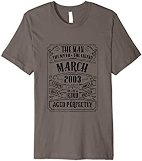 Cool Gift Mens 16th Birthday April 2003 Tshirt 16 Years Son