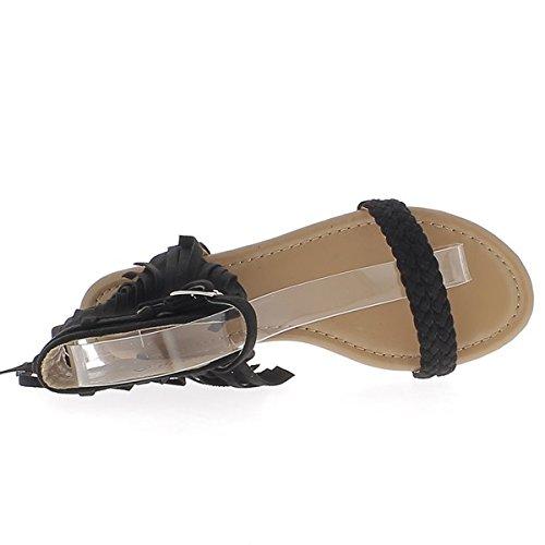 Negro sandalias planas de ante de 0.5 cm con flecos y novia fina mirada talón