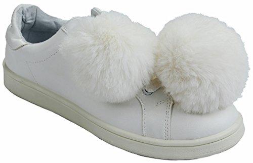 Les Femmes Habitude La Mode Moelleux Simili Cuir Fourrure Pom Pom Lacer Jusquà La Semelle En Caoutchouc Sneaker Blanc