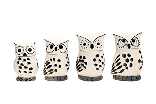 Tuscany Cute Black and White Owl, Ceramic 4pc Canister Set, 81601 by ACK (Sets Ceramic Canister)