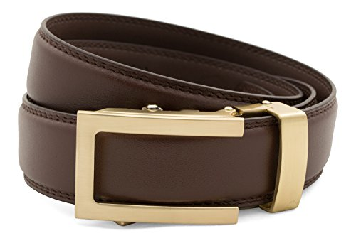 Anson Belt & Buckle - Men's Traditional Gold Buckle with Chocolate Leather Strap