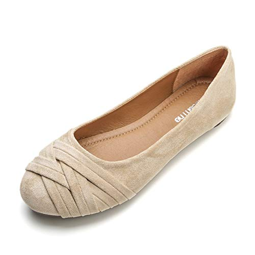 (Meeshine Women's Comfortable Bow Point Toe Flat Pumps Slip On Shoes(Weaving Nude US 9.5)