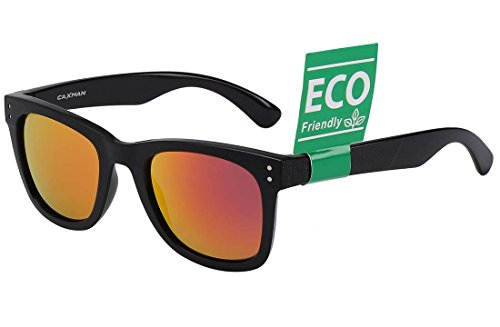 CAXMAN Unisex's Classic Mirrored Wayfarer Sunglasses TR90 Unbreakable Durable Frame for Men Women, Black Frame Wine Red Mirror Revo Lens, Small Size - Mirrored Sunglasses Orange Wayfarer